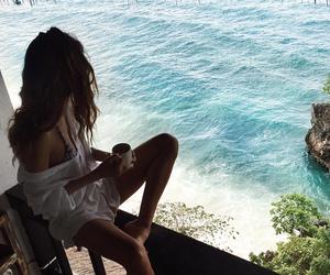 girl, sea, and beach image