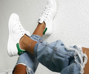 girl, stan smith, and jeans image