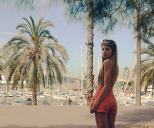 girl, palm trees, and summer image