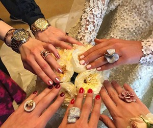 bride, bridemaids, and girls image
