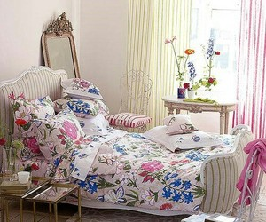 bedroom, home decor, and floral bedding image