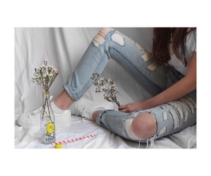 flowers, ripped jeans, and sheets image