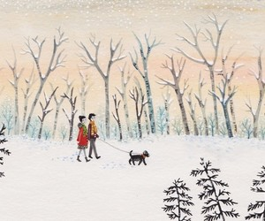 boy, dog, and snow image