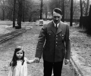 hitler, black and white, and child image