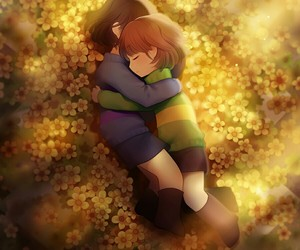 chara, frisk, and golden flowers image