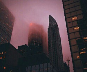 city, pink, and sky image