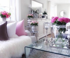 home, flowers, and living room image