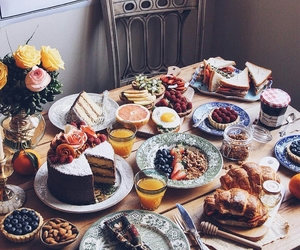 breakfast, food porn, and cake image