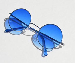 blue, girl, and sunglasses image