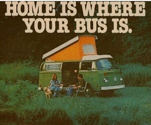 home, bus, and hippie image