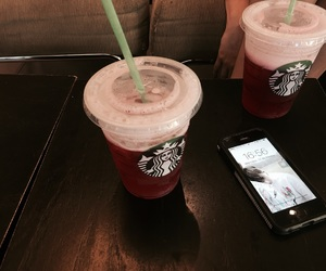 coffee, iphone, and starbucks image