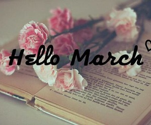 books, flowers, and march image