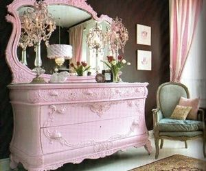 pink, furniture, and dressers image