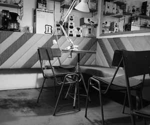 black and white, coffe shop, and coffee image