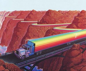 rainbow, truck, and art image