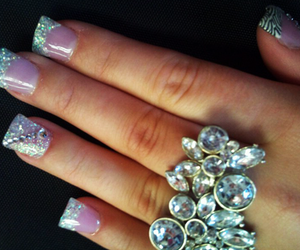 nails, glitter, and ring image