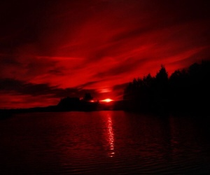 red, aesthetic, and sunset image