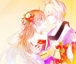 background, mobile, and anime couples image