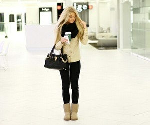bag, blonde, and cute image