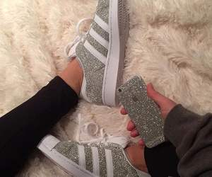 adidas, glitter, and shoes image
