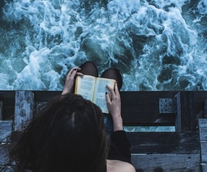 beautiful, reading, and sea image