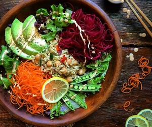 food, vegan, and bowl image