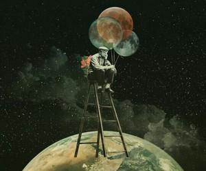 art, balloons, and moon image