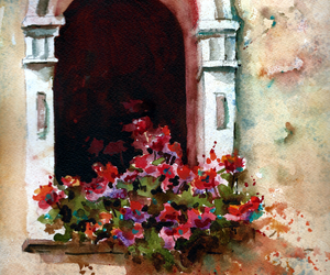 arch, flowers, and watercolour image