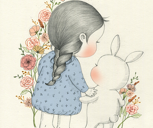 bunny, flower, and girl image