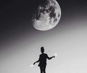 moon, black and white, and hipster image