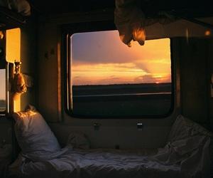sunset, train, and travel image