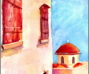 church, Greece, and watercolour image