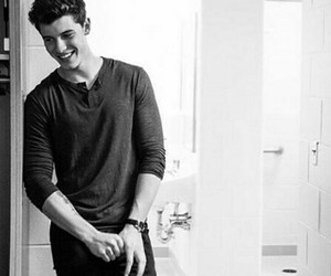 shawn mendes, black and white, and music image