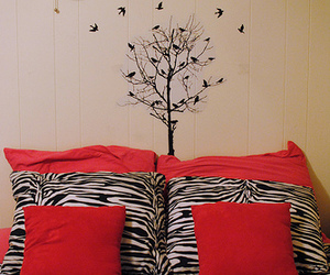 bedroom, wall decoration, and zebra print image