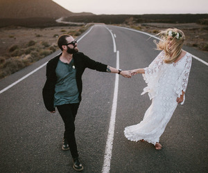 boho, couple, and dress image