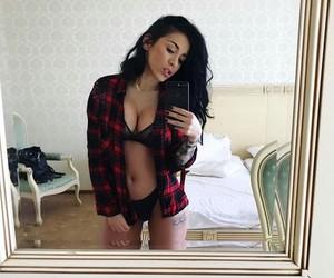 bed, black, and brunette image