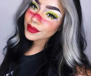 girl, vitiligo, and make up image