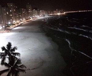 night, beach, and city image