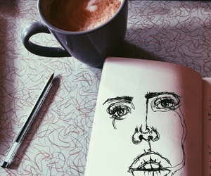 art, coffee, and portrait image