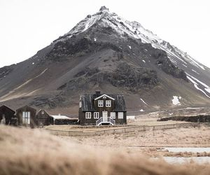 house, iceland, and mountain image