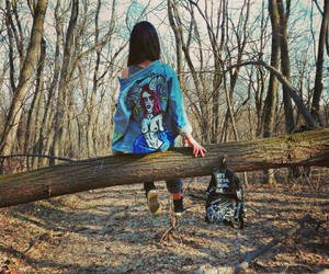 art, denim, and forest image