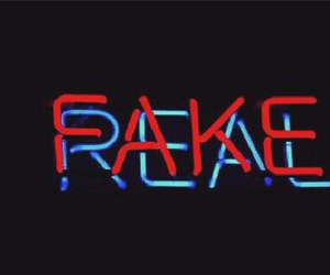 fake, neon, and real image
