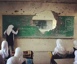 palestine and classroom in gaza image