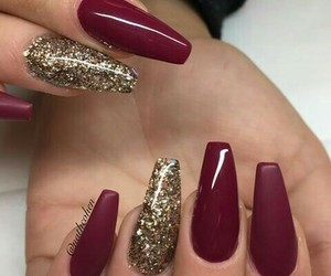 glitter, gold, and nails image