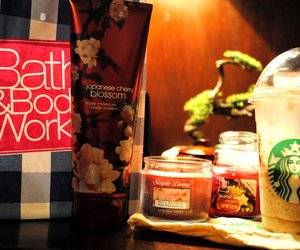 candles, starbucks, and bath and body works image