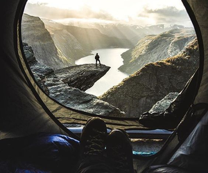 boots, camping, and norway image