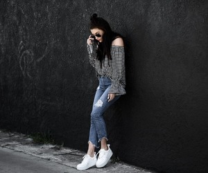 plaid, sneaker, and streetstyle image