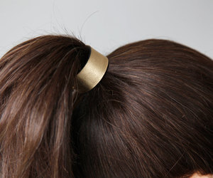 gold hair cuff and leather hair wrap image