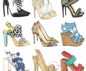 drawing, shoes, and heels image