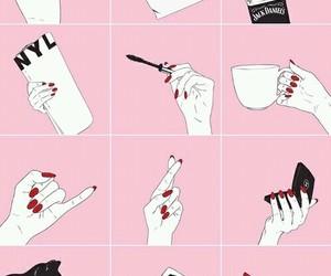 pink, hand, and makeup image